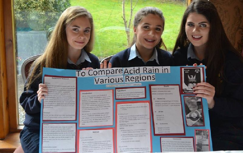 Pictured above: Lauren Gorry, Tara Daly and Lydia Coyne present their project at Scifest@School.