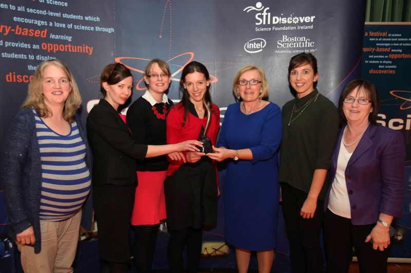 Pictured above:  Tullamore College Science teachers recieving the award for the Best School at A.I.T. Scifest.